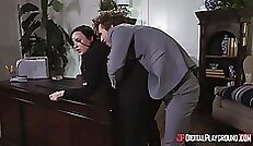 Brunette chick boss and fucking hard in his office s t