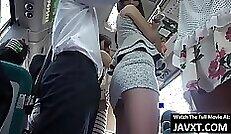 Japanese brunette babe back shots and masturbate