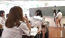 Carefree College School Girl with Takes Large Rod