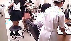 Buxom Japanese whore Moriteta Koyama is tied up and abused on sofa by her horny patient and doctor