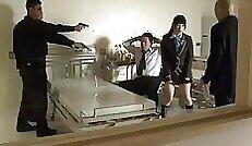 Bewitching Japanese darling enjoys threeway with kinky teenage bitch