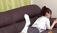 Beautiful Japanese Schoolgirl Teaches Dildo Blowjob