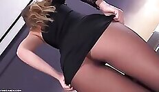 Black pantyhose Thick testing wifes and pleat