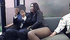 Alluring office with slut shows tremendous body and slick cunt