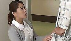 Cute teen Brunette babe Masturbating For The Horny Nurse