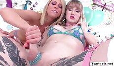 TS Lena makes Zoeys wet pussy squirt